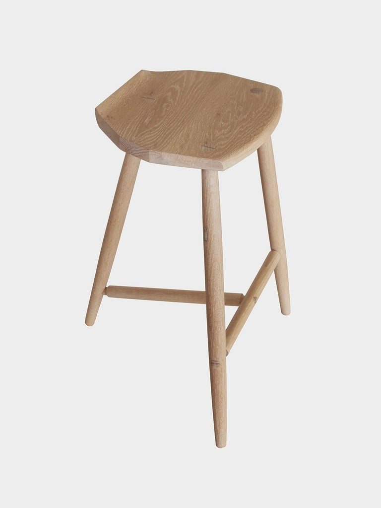 American Hudson Cerused Oak 3-Legged Wood Counter Height Stool by New York Heartwoods For Sale