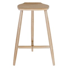 Hudson Cerused Oak Counter Height Wood Stool with Three legs, in Stock