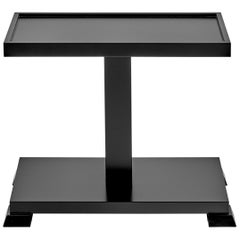 Hudson Contemporary Black Drink Table in Antique Black Lacquer