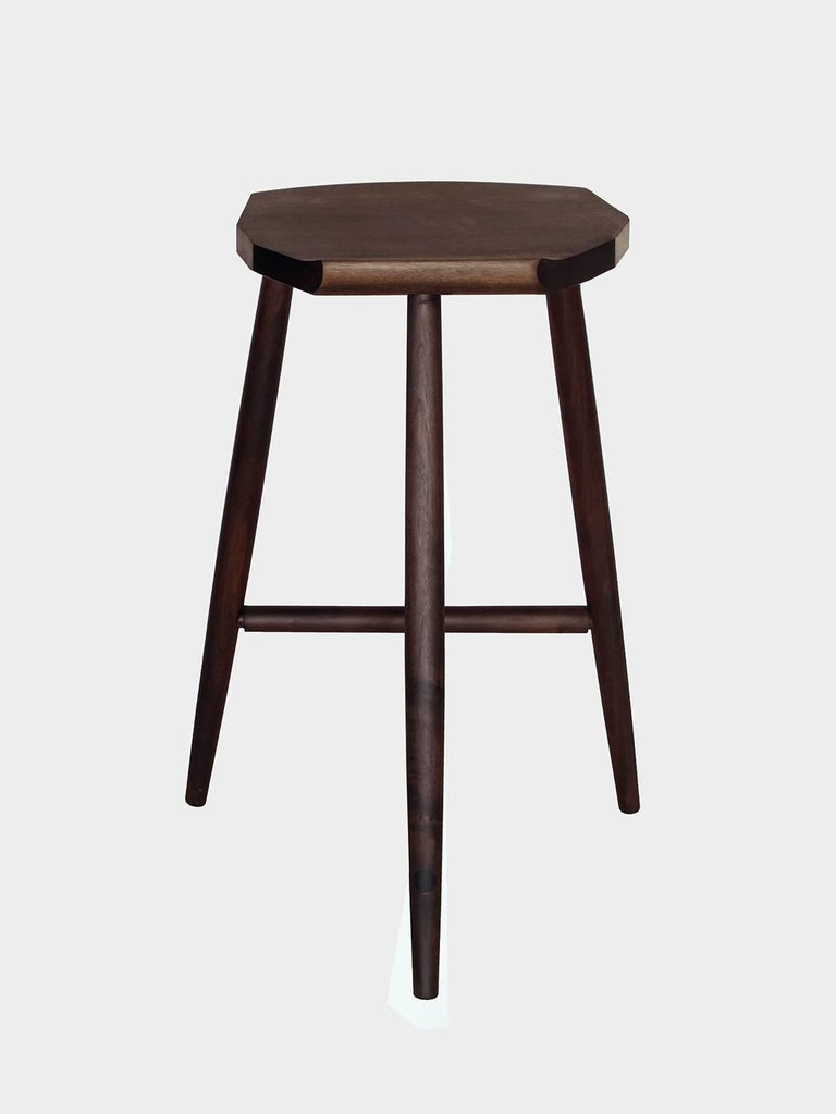 Modern Hudson Ebonized Walnut Counter Height 3-Legged Wood Stool by New York Heartwoods For Sale