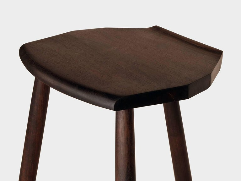 American Hudson Ebonized Walnut Counter Height 3-Legged Wood Stool by New York Heartwoods For Sale