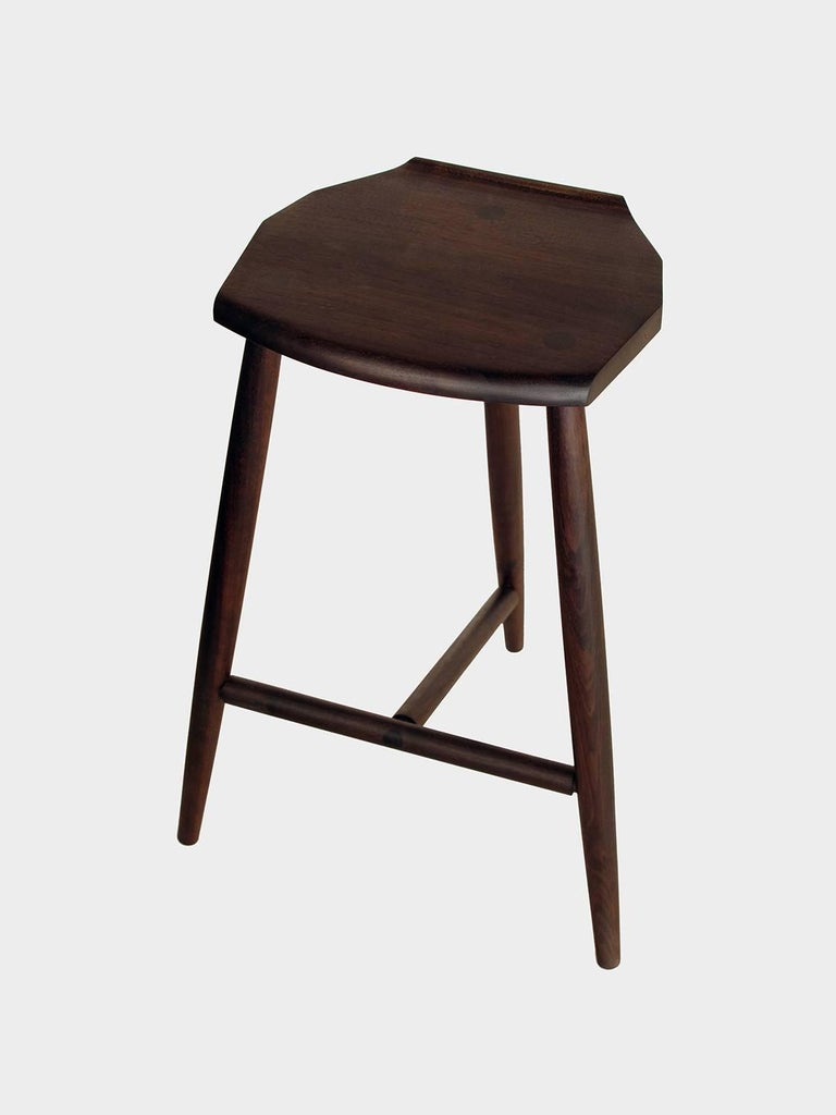 Hand-Crafted Hudson Ebonized Walnut Counter Height 3-Legged Wood Stool by New York Heartwoods For Sale