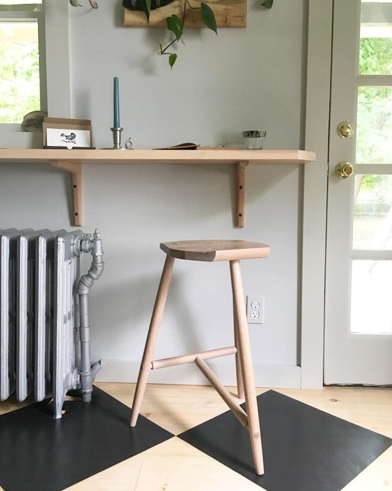 Hudson Ebonized Walnut Counter Height 3-Legged Wood Stool by New York Heartwoods For Sale 2