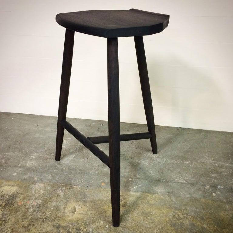 Hudson Ebonized Walnut Counter Height 3-Legged Wood Stool by New York Heartwoods For Sale 1