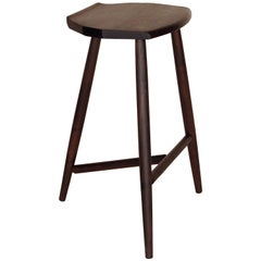 Hudson Ebonized Walnut 3-Legged Wood Counter Height Stool by New York Heartwoods