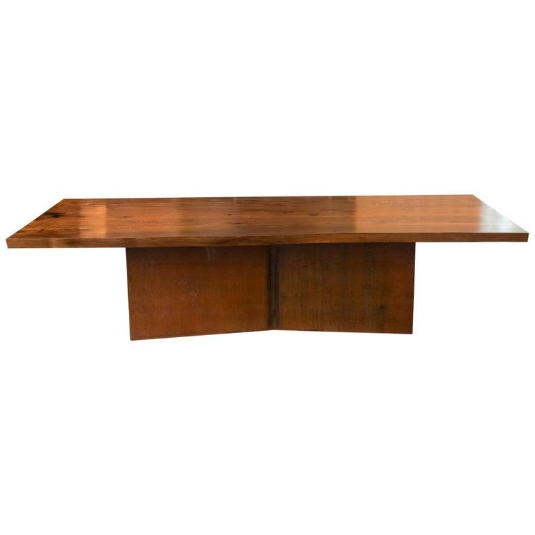 Hudson Furniture Claro Walnut Slab With George Sacaris Stee Dining