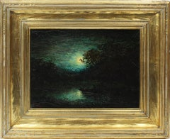 American Masterpiece Moonlit Nocturnal Glowing Landscape Original Oil Painting