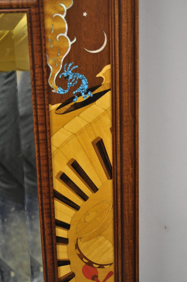 North American Hudson River Inlay Marquetry Inlaid Jammin Large Border Beveled Glass Mirror For Sale