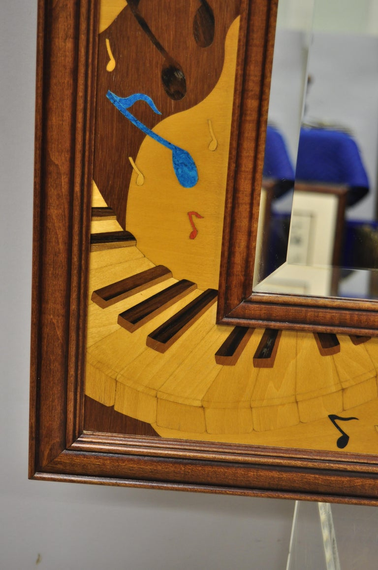 Hudson River Inlay Marquetry Inlaid Jammin Large Border Beveled Glass Mirror In Good Condition For Sale In Philadelphia, PA