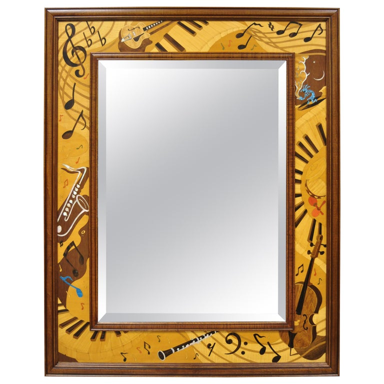 Hudson River Inlay Marquetry Inlaid Jammin Large Border Beveled Glass Mirror For Sale