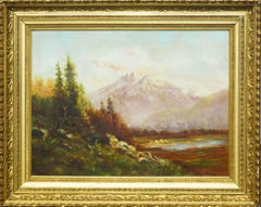 Mount Baker with Encampment - In Style of Albert Bierstadt