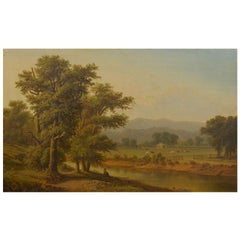 Hudson River Valley Oil Landscape Painting, 19th Century