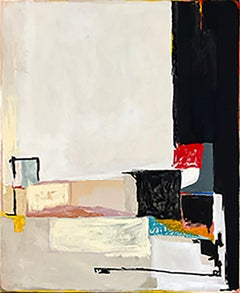 Certain Bliss 10: Abstract Minimalist Painting on Canvas in White, Black, Red