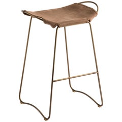 Bar Stool, Aged Brass Steel and Suede Leather, HUG COLLECTION