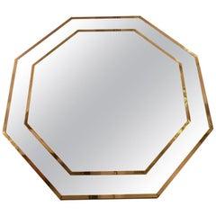 Huge Vintage Brass Octagonal Mirror, circa 1970s