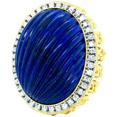 Huge 14 Karat Yellow Gold Diamond and Lapis Lazuli Vintage Ring