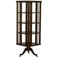 Huge Tall Oak circa 1910 Edwardian Antique Revolving Library Bookcase