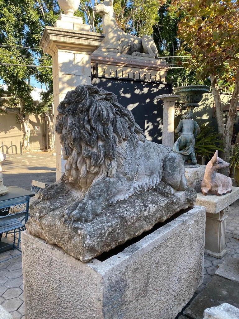 Huge Hand Carved Stone Lion Sculpture Garden Center Piece Statue Antique For Sale 7