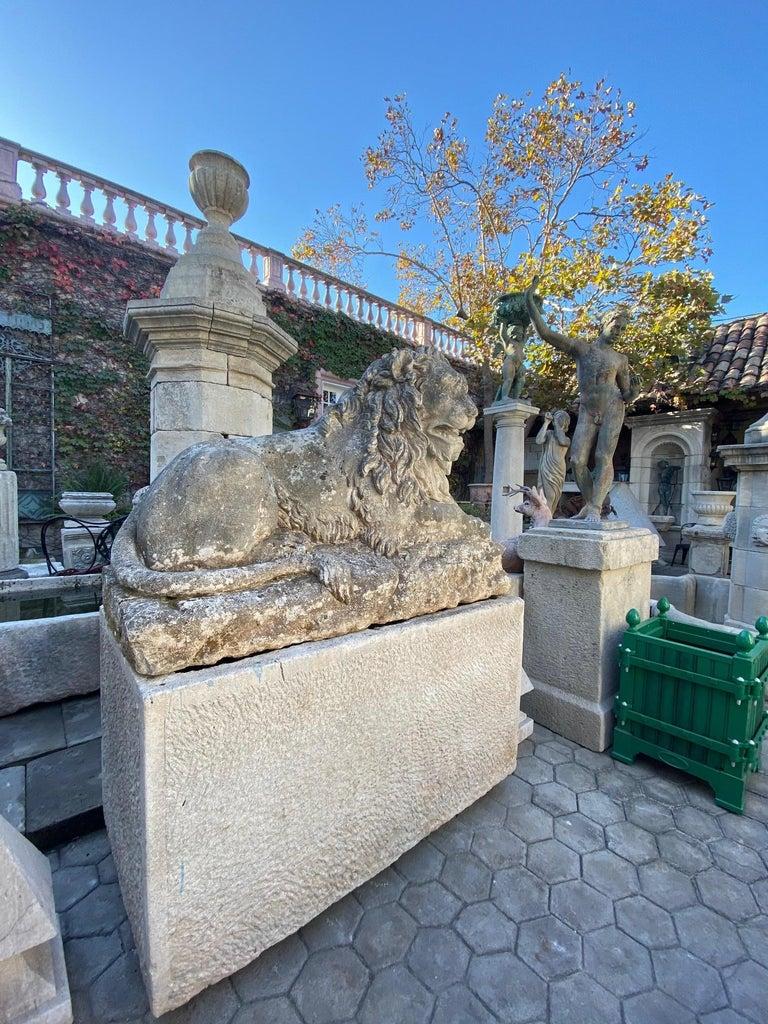 Huge Hand Carved Stone Lion Sculpture Garden Center Piece Statue Antique For Sale 8