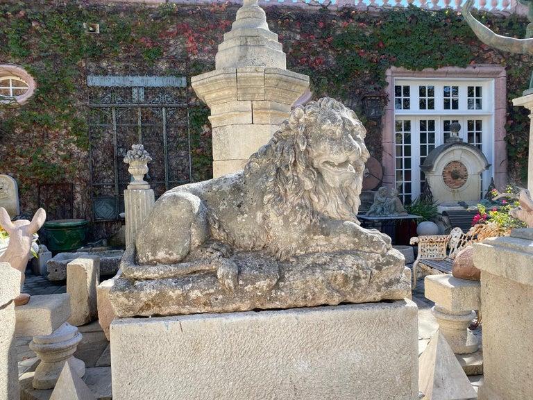 Huge Hand Carved Stone Lion Sculpture Garden Center Piece Statue Antique For Sale 9