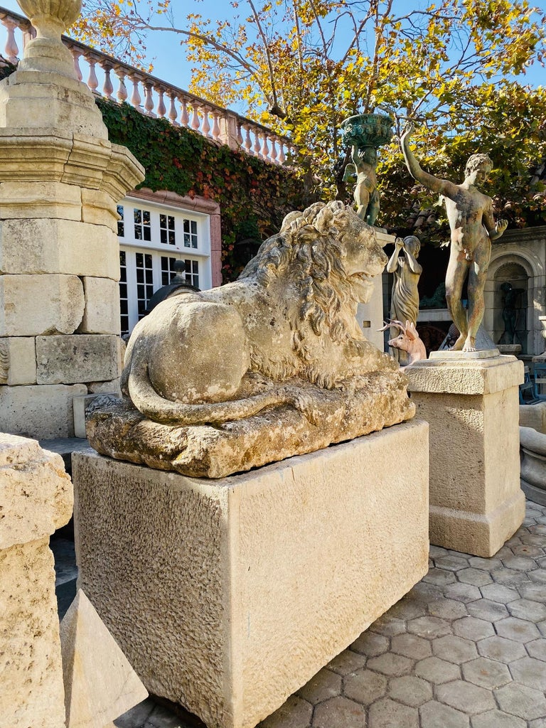 Exquisite monumental 18th century hand carved stone figure of a regal lion garden Statue sculpture, as a fountain center piece, or as freestanding art piece. Almost 5 Feet Long Fine, impressive hand-sculpted garden statues animalier exhibit