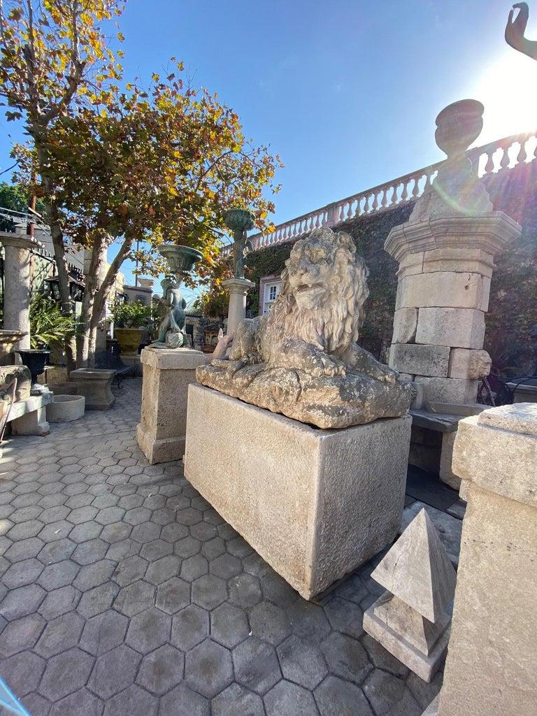 Huge Hand Carved Stone Lion Sculpture Garden Center Piece Statue Antique For Sale 1