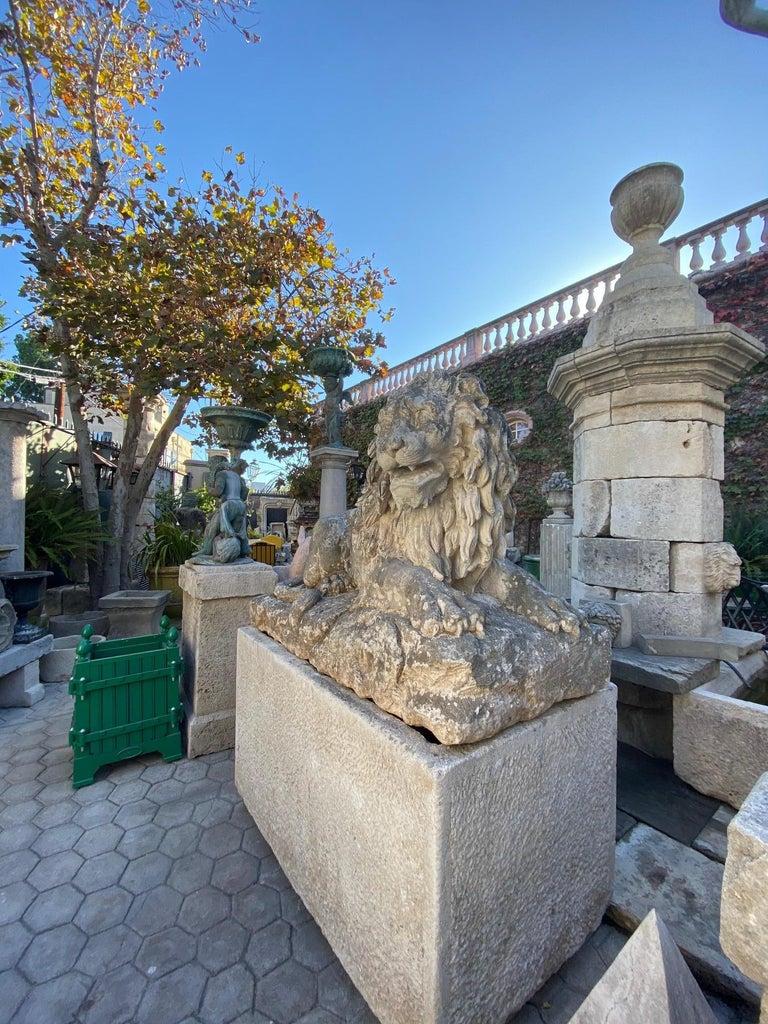 Huge Hand Carved Stone Lion Sculpture Garden Center Piece Statue Antique For Sale 3