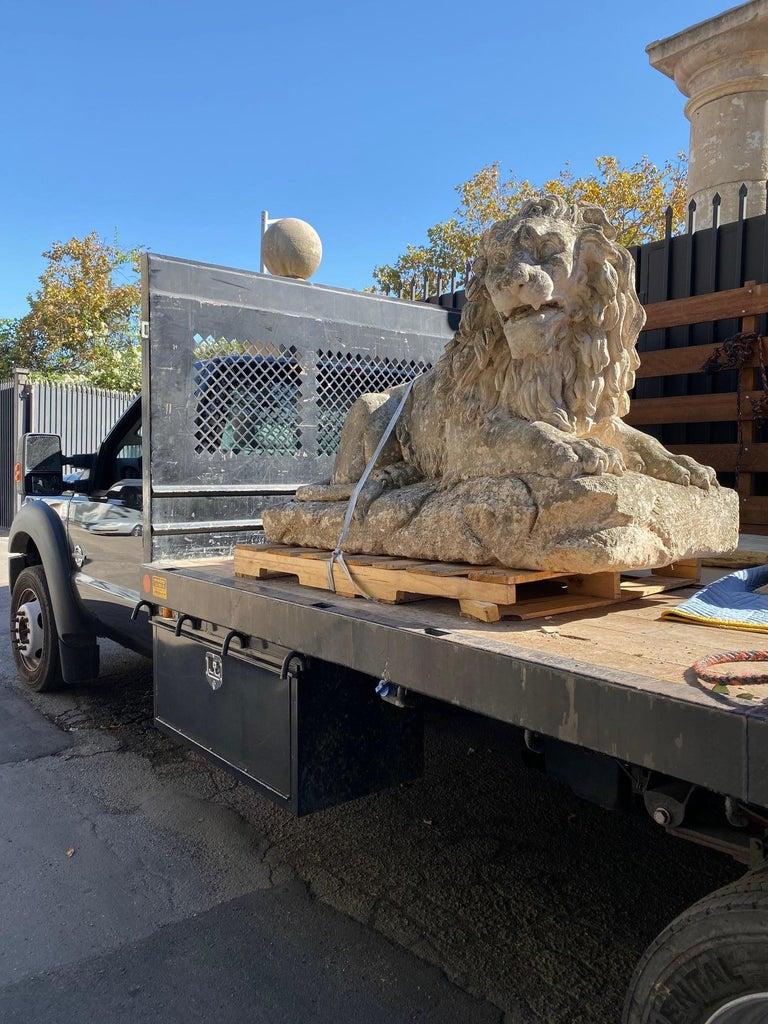 Huge Hand Carved Stone Lion Sculpture Garden Center Piece Statue Antique For Sale 4