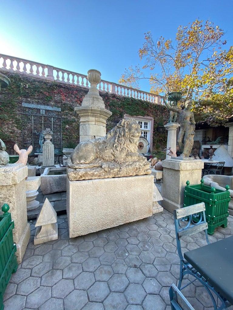 Huge Hand Carved Stone Lion Sculpture Garden Center Piece Statue Antique For Sale 6