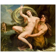 Huge 18th Century French School Painting, The Abduction of Deianeira