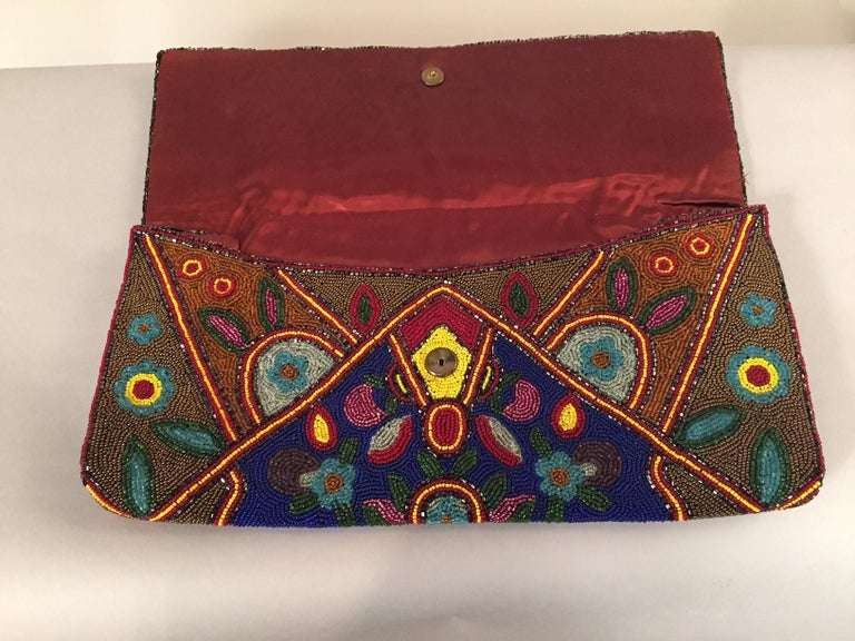 Huge 1930's Art Deco Beaded Clutch Bag Oversized Pristine In Excellent Condition For Sale In New Hope, PA