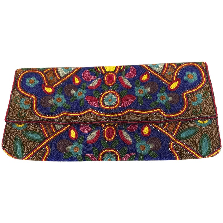 Huge 1930's Art Deco Beaded Clutch Bag Oversized Pristine For Sale