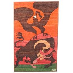 Huge 1960s Framed Wool Modernist Tapestry