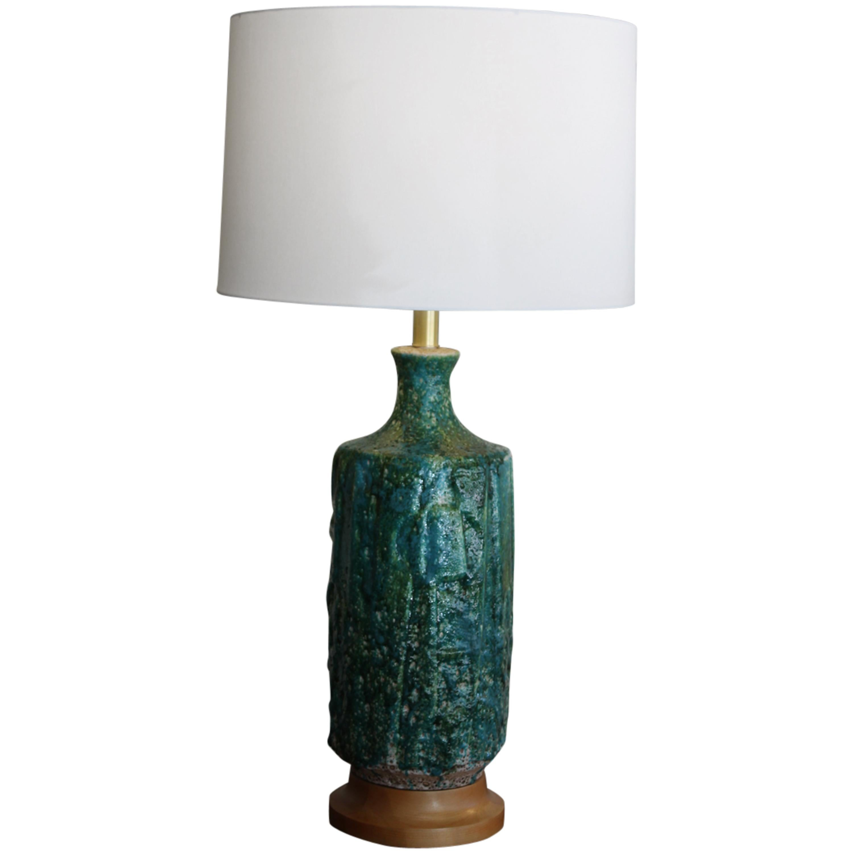 Huge 1960s Lava Glaze Table Lamp