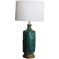 Huge 1960s Lava Glaze Table Lamp