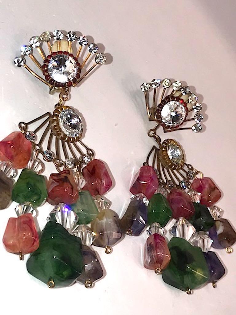 Huge 1970s Chandelier Earrings For Sale 8
