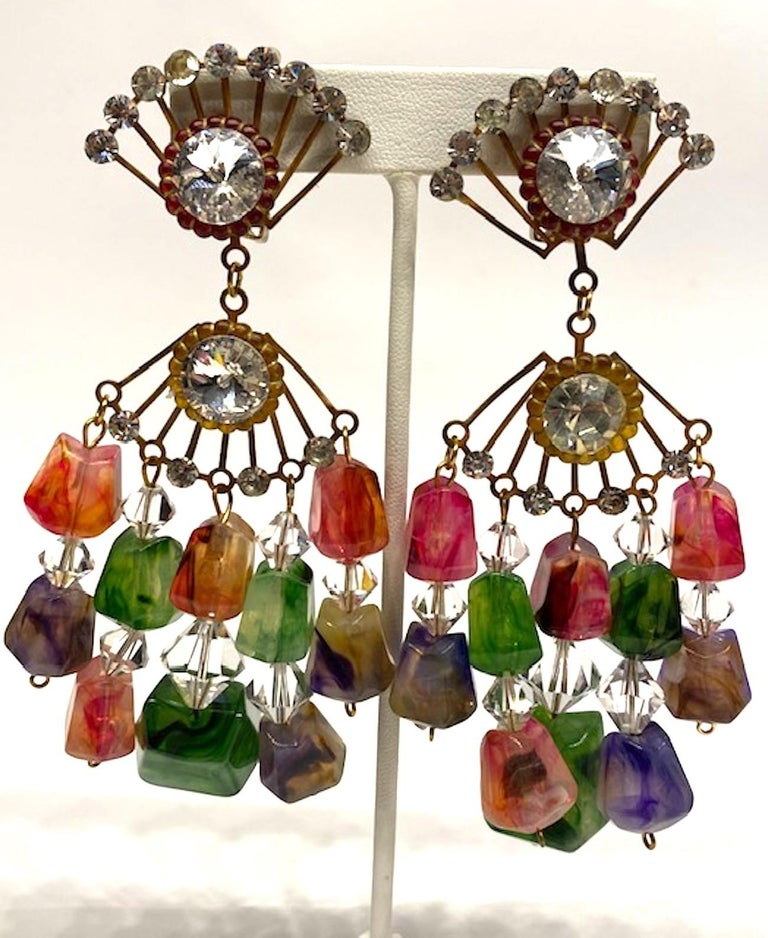 Huge 1970s Chandelier Earrings In Good Condition For Sale In New York, NY