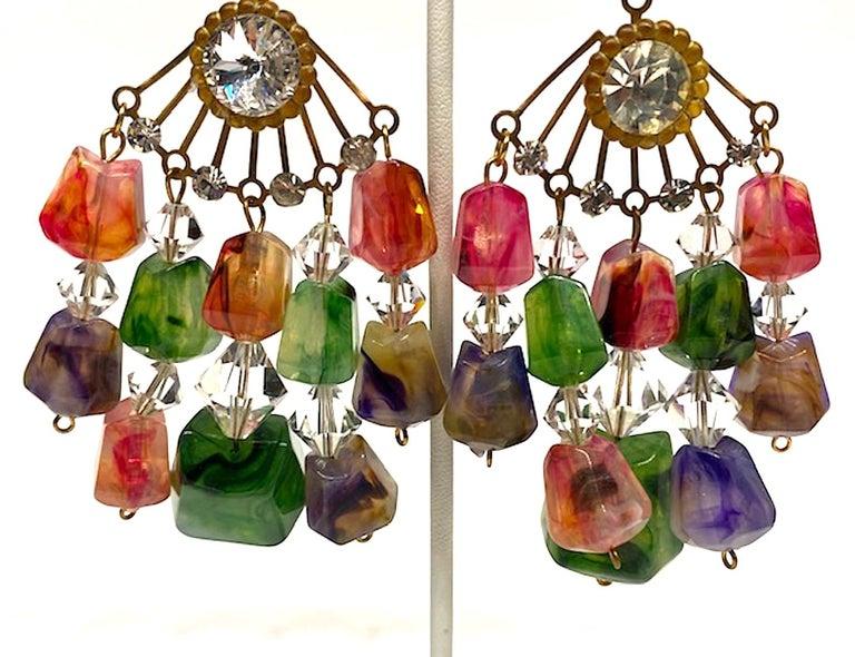 Women's Huge 1970s Chandelier Earrings For Sale