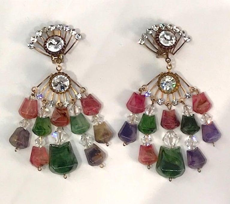 Huge 1970s Chandelier Earrings For Sale 1
