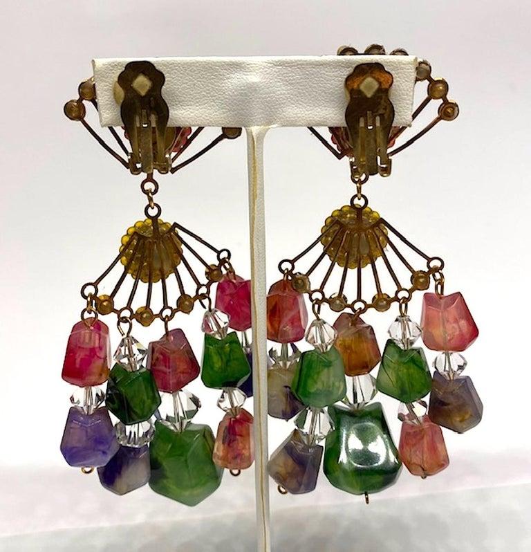 Huge 1970s Chandelier Earrings For Sale 2