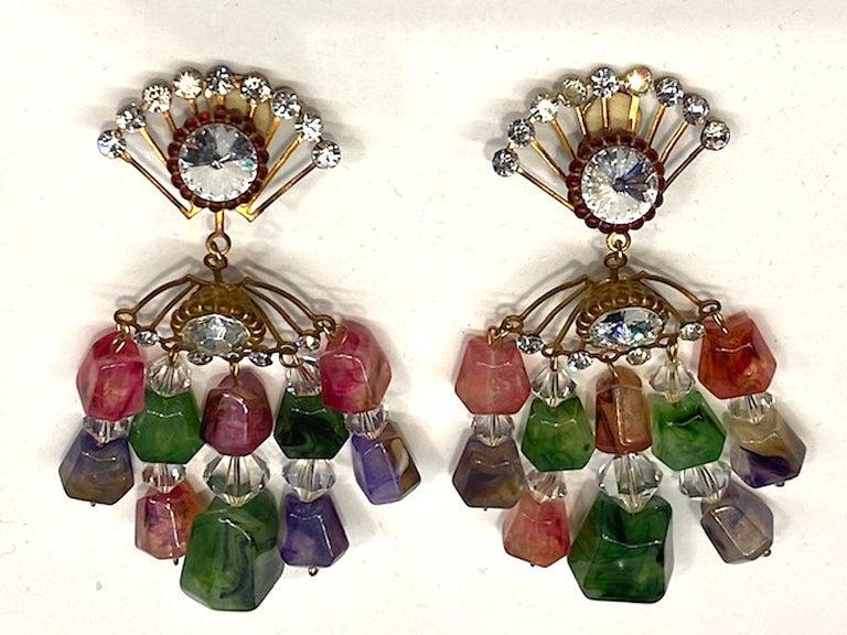 Huge 1970s Chandelier Earrings For Sale 3