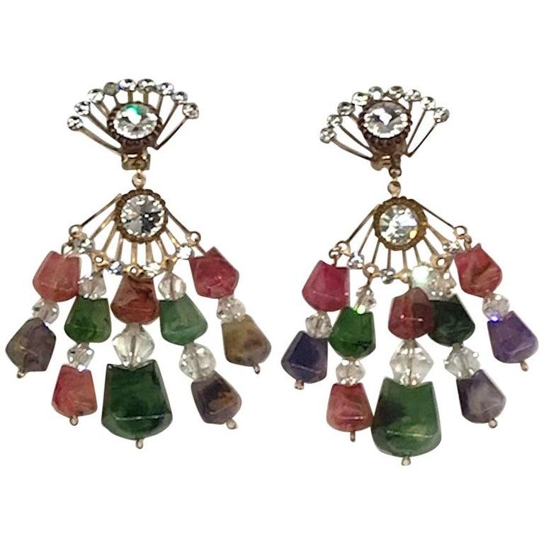 Huge 1970s Chandelier Earrings For Sale