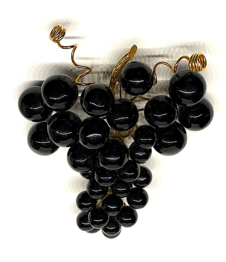 Huge 1980s Black Grape Bunch Brooch For Sale 1