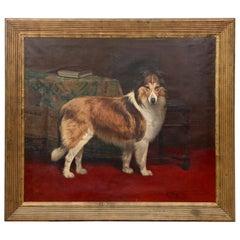 Huge 19th Century Oil on Canvas Rough Collie Portrait by Alexandre Clarys