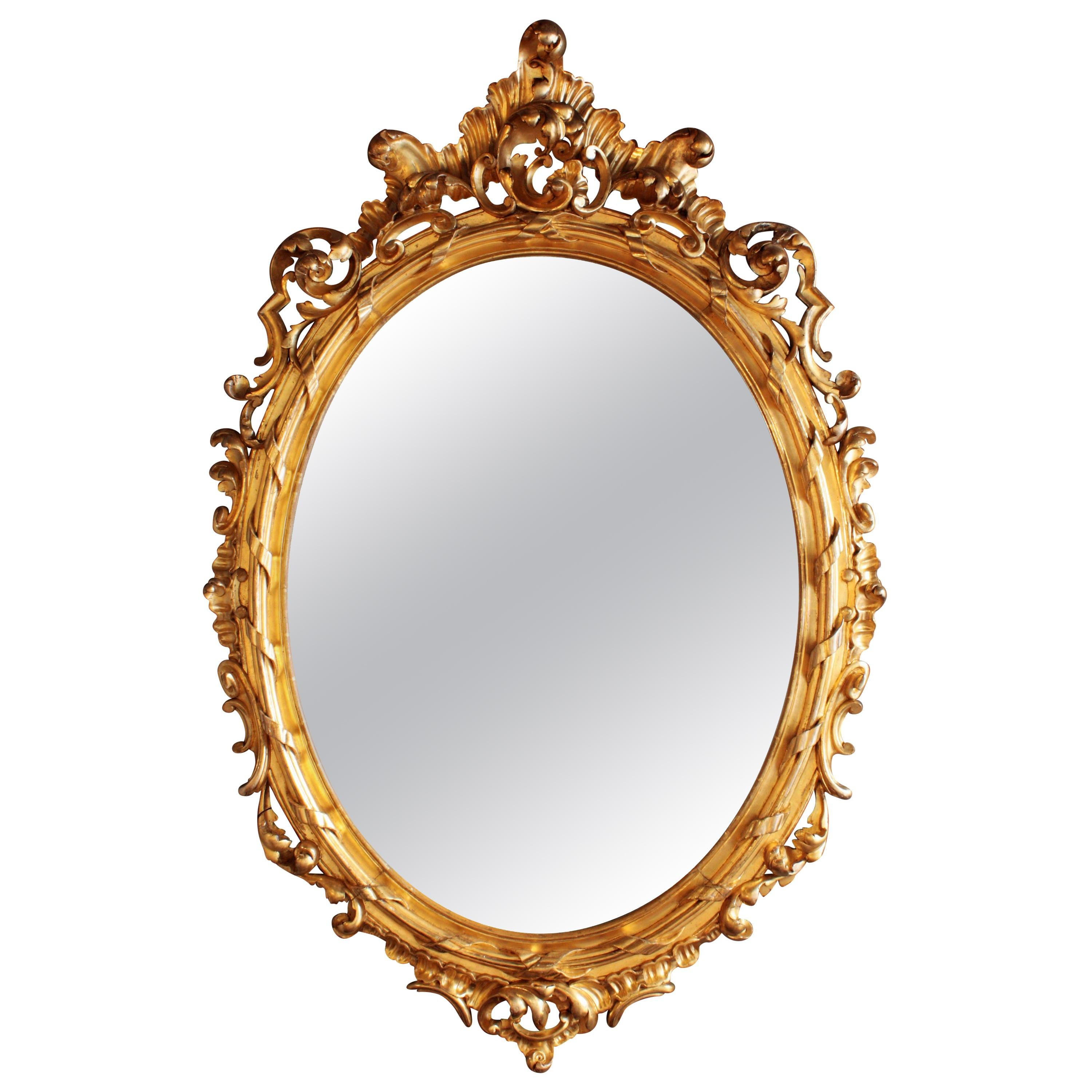 French Rococo Carved Giltwood Palatial Oval Mirror