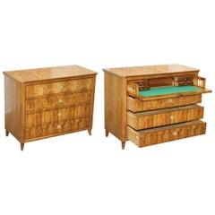 Huge 19th Century Walnut Biedermeier Chest of Drawers Drop Front Desk Secretaire
