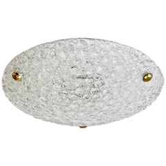 Large Textured Bubble Glass and Brass Flush Mount Light by Hillebrand, Germany