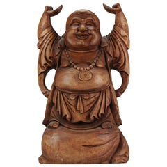 Huge 20C Chinese Carved Wood Statue of a Laughing Buddha Great Carving