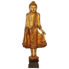 Huge 20th Century Thai Carved Wood Statue of a Buddha Gold Great Carving