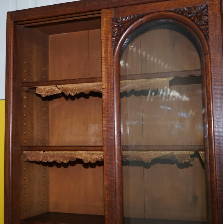 Huge Tall Solid English Oak Victorian Library Sliding Glass Door Bookcase For Sale 5